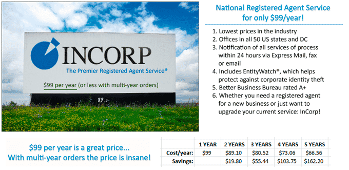 InCorp Registered Agent price
